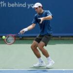 Aslan Karatsev in action ahead of the ATP Astana Open.