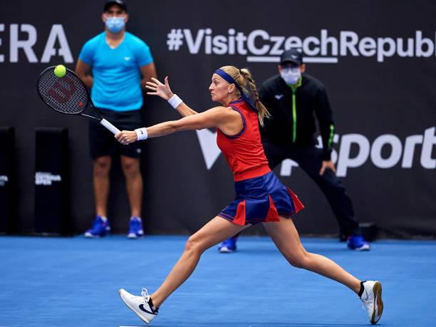 Petra Kvitova in action at the WTA Ostrava Open.
