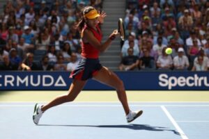 Emma Raducanu in action at the US Open.