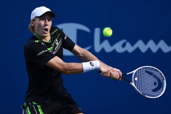 Emil Ruusuvuori in action ahead of the ATP Astana Open.