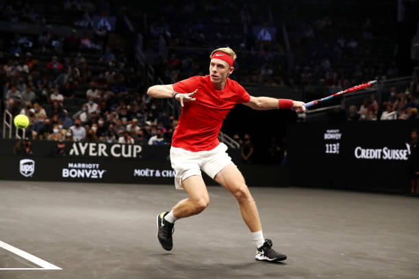 Denis Shapovalov in action at the Laver Cup.