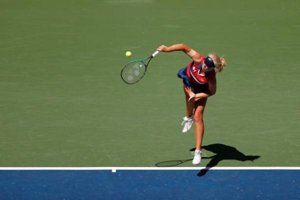 WTA Luxembourg finalist Clara Tauson in action.