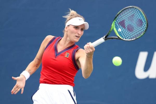 Marketa Vondrousova in action prior to the WTA Luxembourg Open.