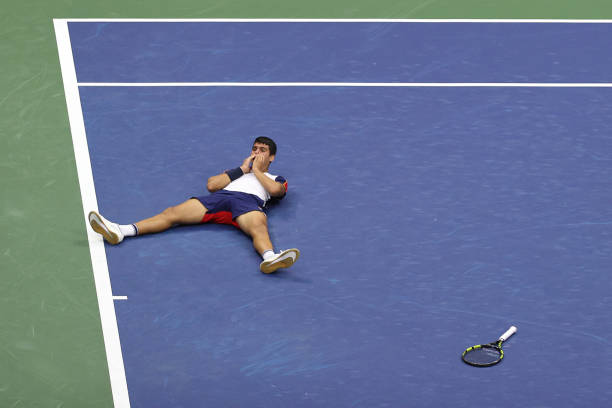 Carlos Alcaraz Celebrates US Open