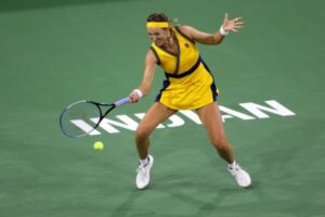 Victoria Azarenka in action at the WTA Indian Wells Open.