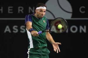 Grigor Dimitrov in action at the ATP San Diego Open.