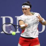 Ons Jabeur in action prior to the WTA Chicago Classic.