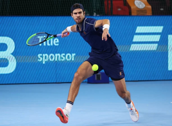 Karen Khachanov in action at the ATP Moscow Cup.