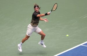 Stefanos Tsitsipas in action at the ATP Indian Wells Masters.