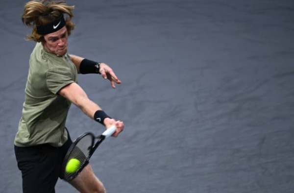Andrey Rublev in action at the Paris Masters